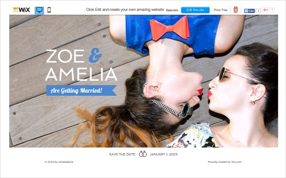 free wedding site wix theme