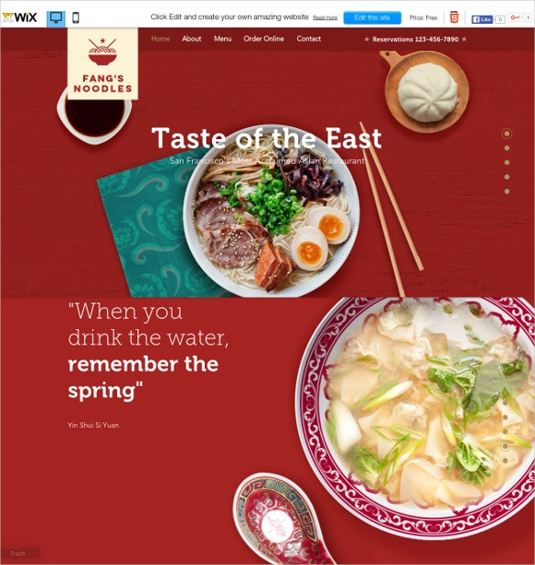 free wix theme for asian restaurant