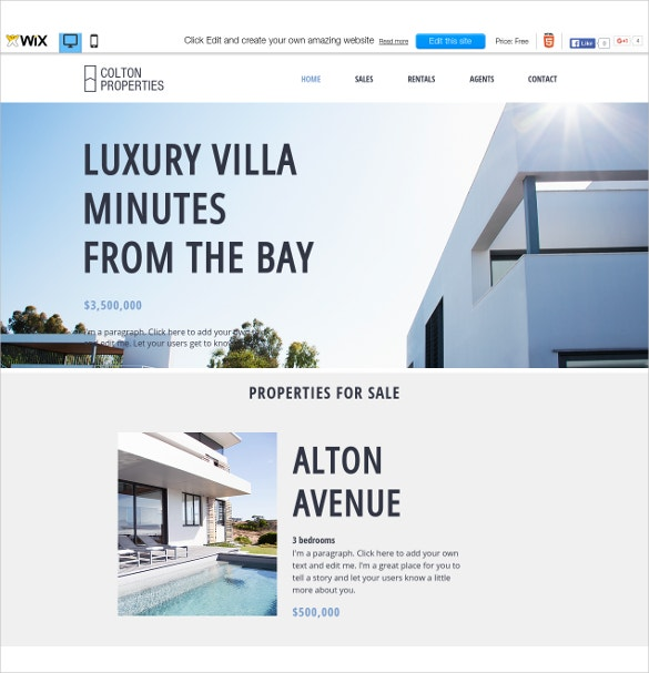 free luxury real estate wix theme