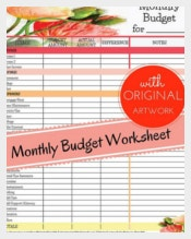 Monthly Budget Worksheet Tracking Template