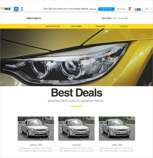 free wix template for car showroom