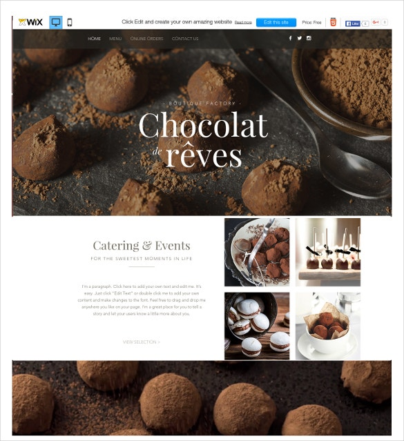 free chocolate wix theme