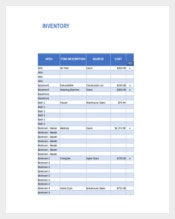 Home Inventory Excel Format Template Download