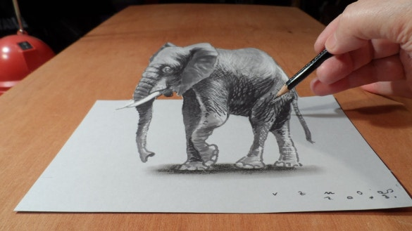 cool elephant 3d art on paper