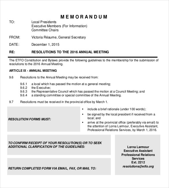 Executive Resolutions Annual Meeting Memo Sample Document Download  Professional Memo Format Template