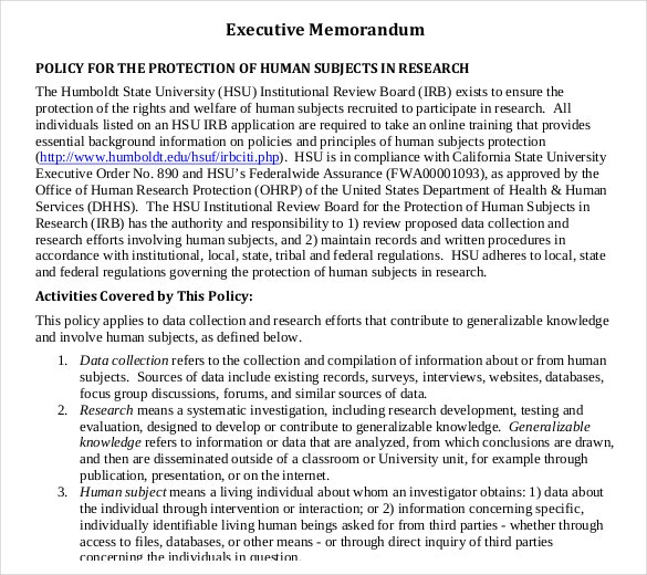 executive memo human protection example template free download