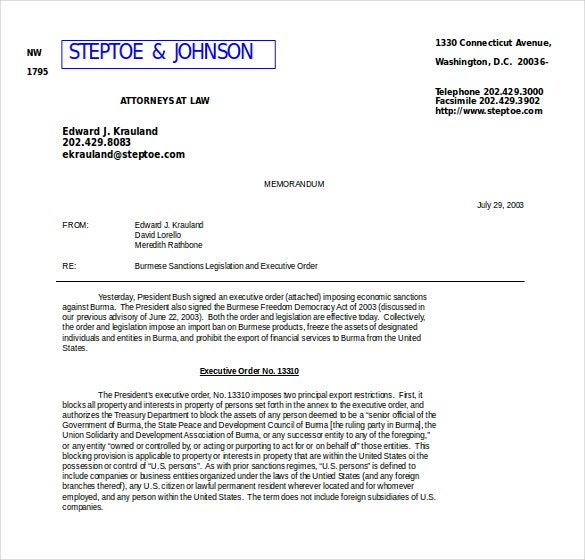 Example Document To Download Executive Memo Template  Memo Format On Word