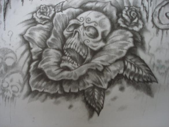 flower skull cool art