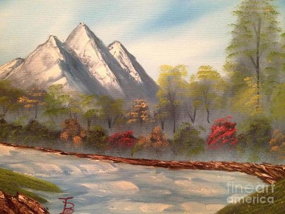 cool mountain river art