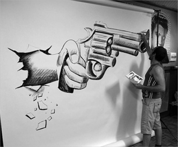cool 3d art on wall
