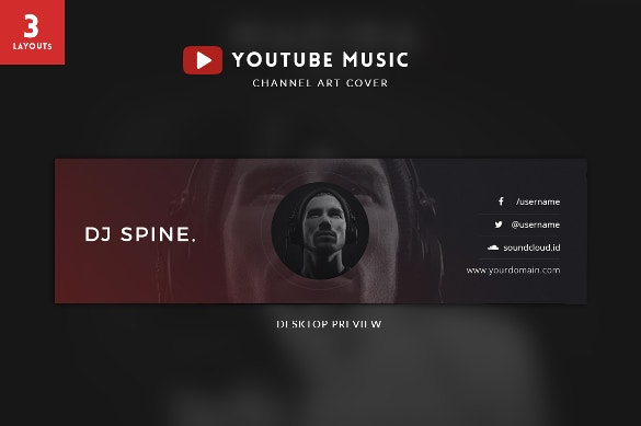 attractive youtube chaneel art template download