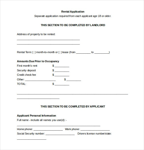 landlord rental application word document