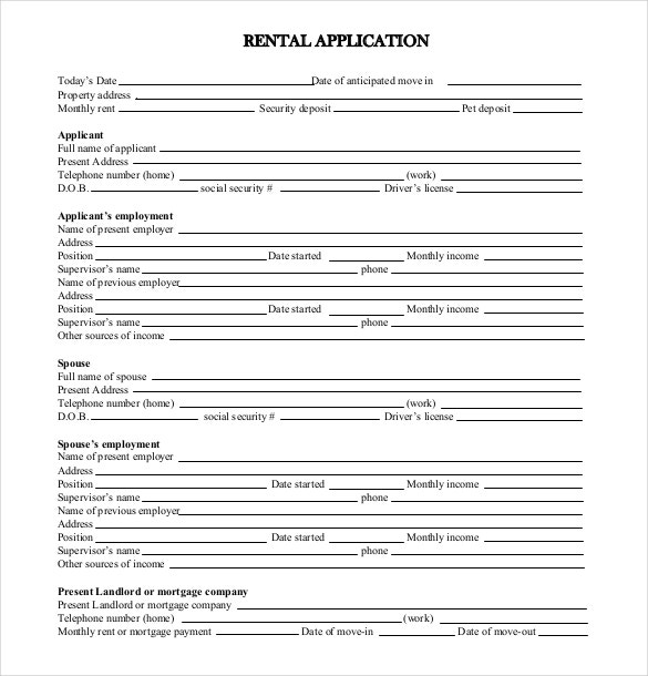 Standard Rental Application Form Free Download  Application Templates For Word