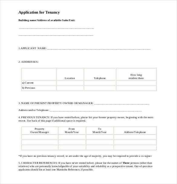 application for tenancy pdf format free download