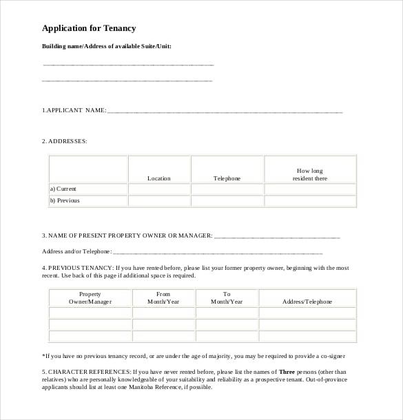 application for tenancy pdf format free download