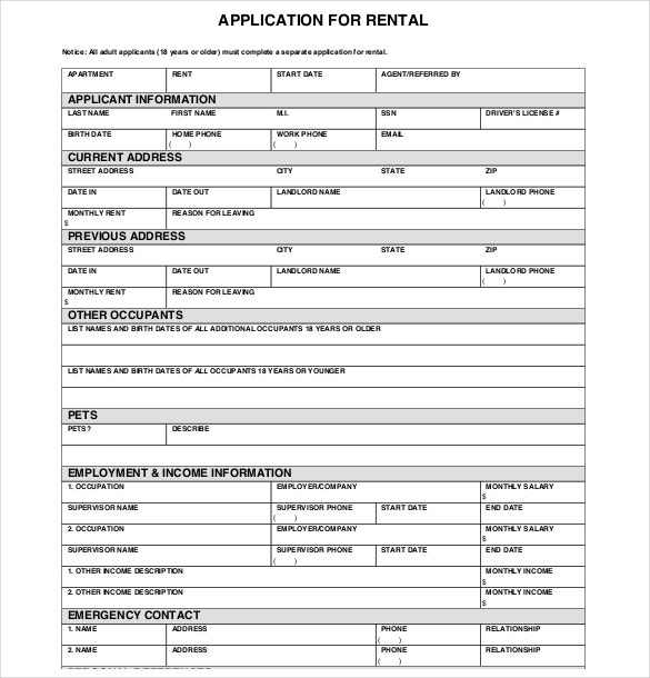 rent application form california