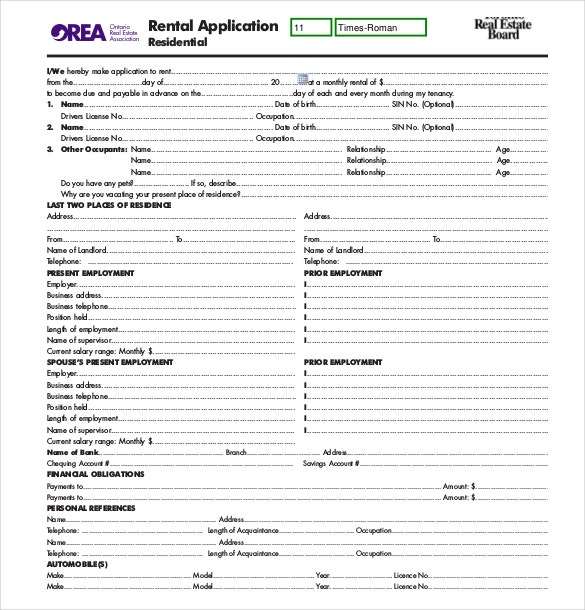Rental Application Templates  Free Sample Example Format