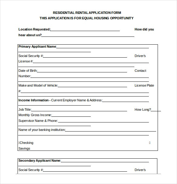 Residential Rent Application Form - Ex