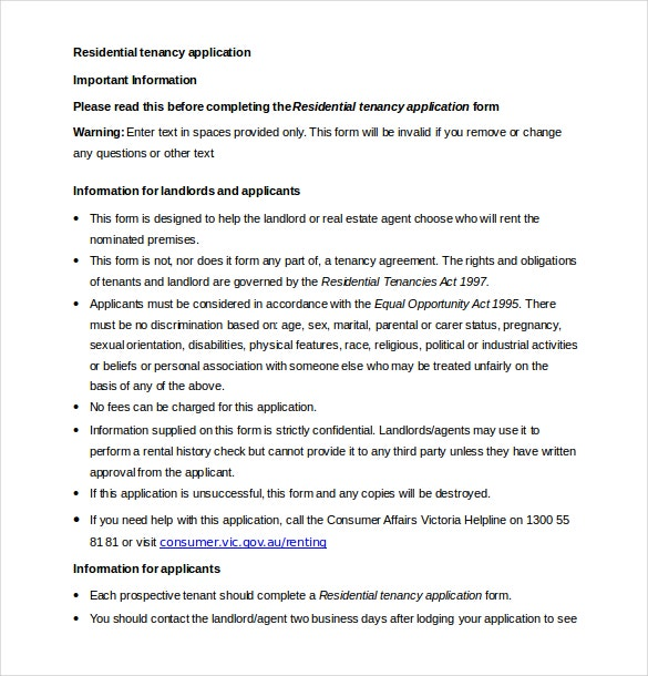 residential tenancy application word document 1