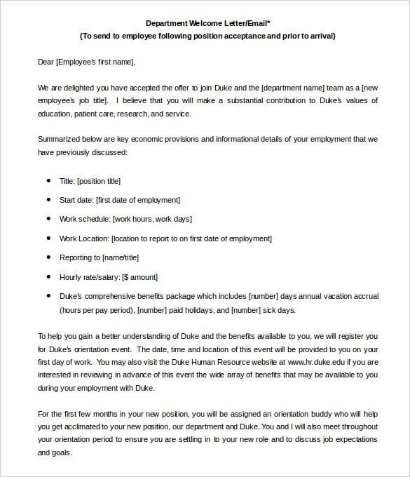 department welcome letter template word doc