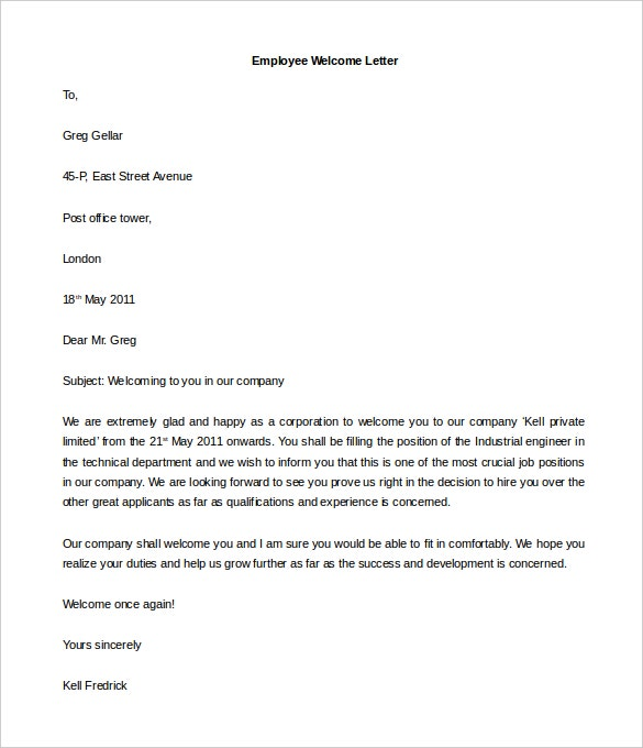 Hr Welcome Letter Templates  Free Sample Example Format