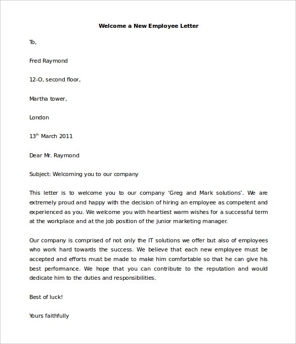 download welcome a new employee letter template for free