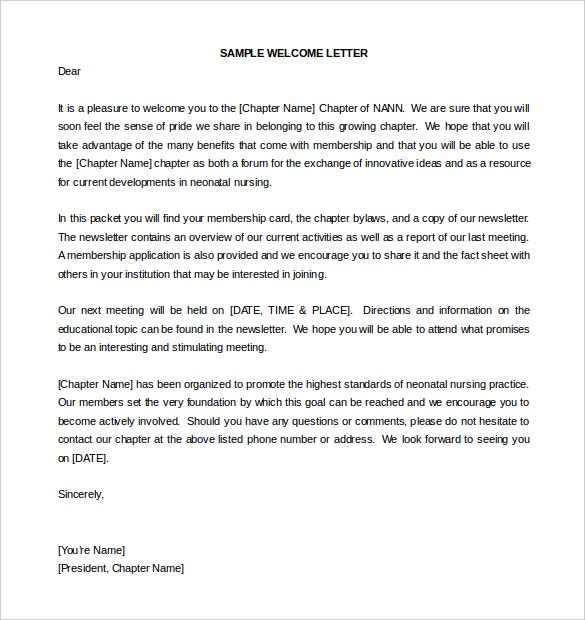 Welcome Letter Template  Letter Template