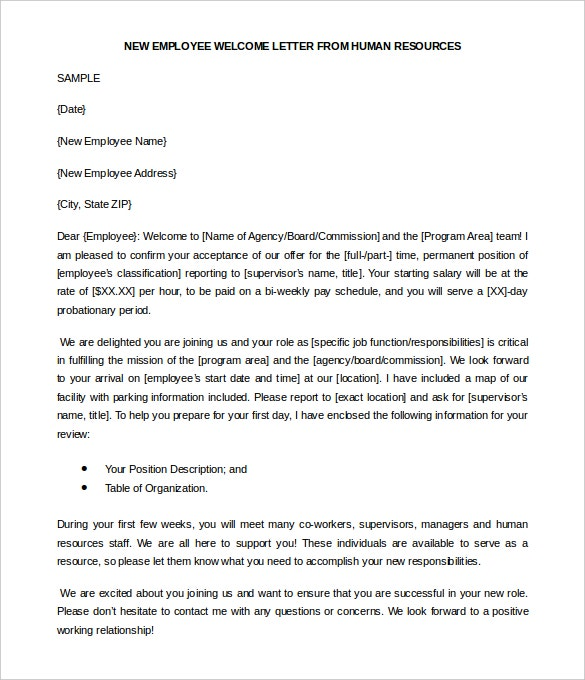 free new employee welcome letter from human resources template