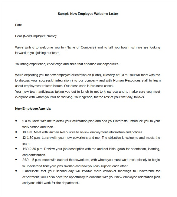 Hr Welcome Letter Template  Free Sample Example Format  Free
