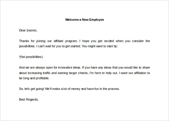 welcome a new employee letter template word editable download
