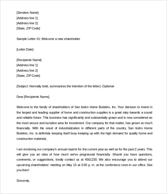 29 HR Welcome Letter Templates Free Sample Example Format – Letter to Shareholders Example