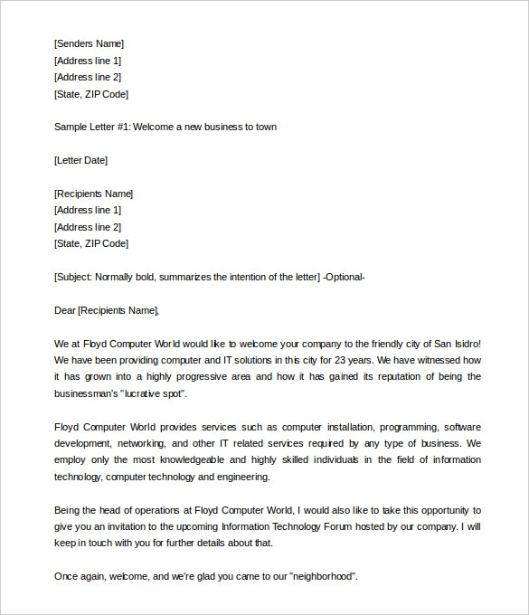 23 hr welcome letter template free sample example format free welcome a new business to town letter template printable friedricerecipe Images