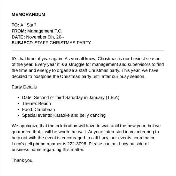 Memo Sample Sample Holiday Memo Template Free Download Holiday Memo