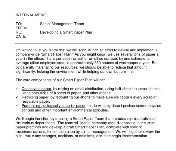 example format internal memo template