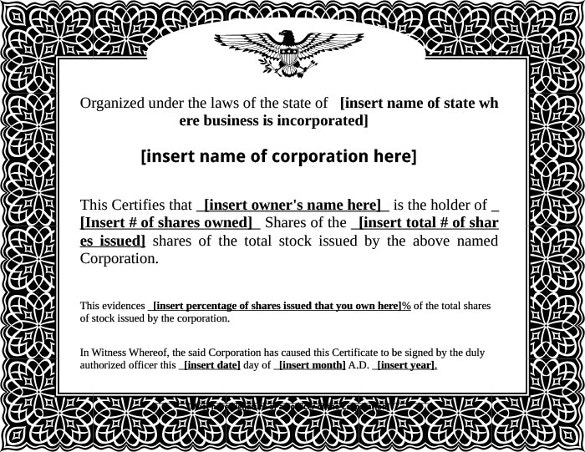 stock certificate template free pdf format download