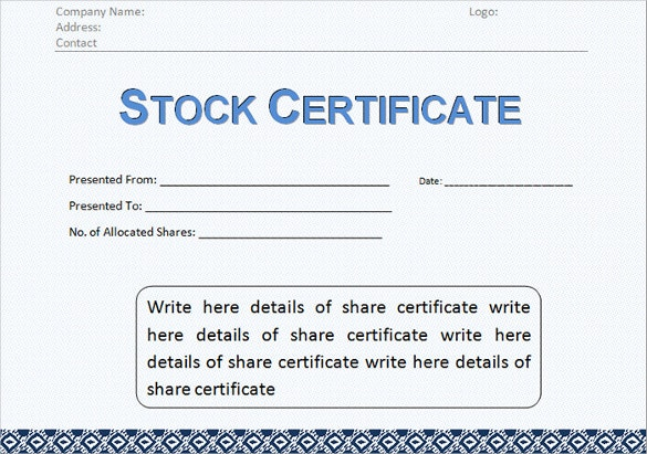 Stock Certificate Templates Free Sample Example Format - S corporation stock certificate template