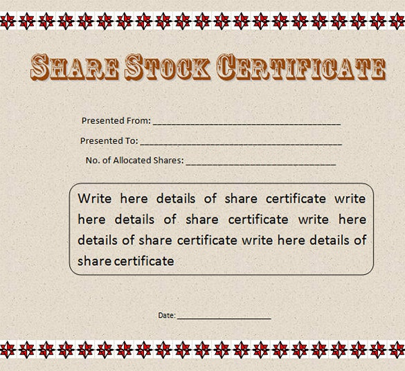 Sample share certificate template robertottni 21 stock certificate templates free sample example format yelopaper Image collections