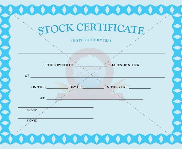 Blue Color Stock Certificate Template PDF Download