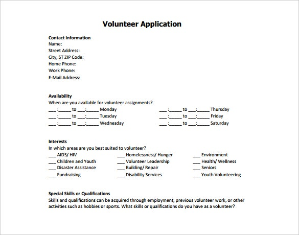 nonprofit success volunteer application template pdf format