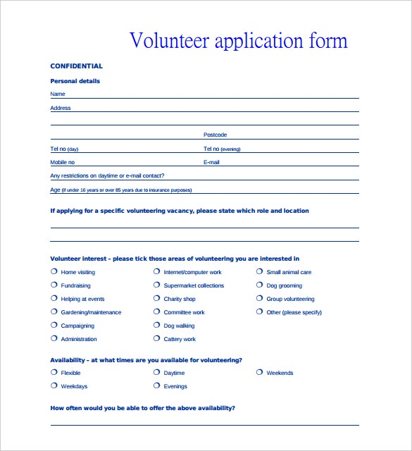 volunteer personal application form template pdf printable