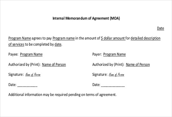 internal memorandum of agreement procedure example format download1
