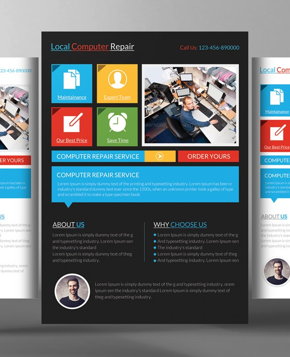 Computer Repair Flyer Templates 24 Free Psd Ai Format Download