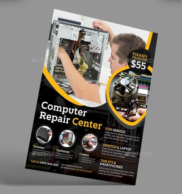 computer repair centre flyer template psd layered