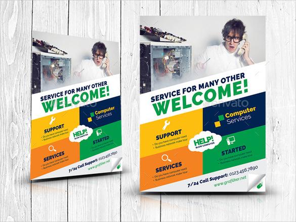 computer service repair flyer template psd download