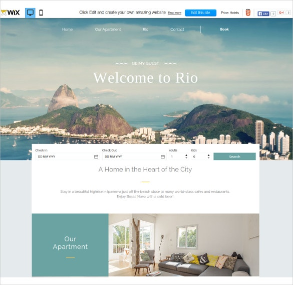 free beautiful resort wix theme
