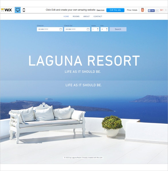 free beautiful resort wix theme1
