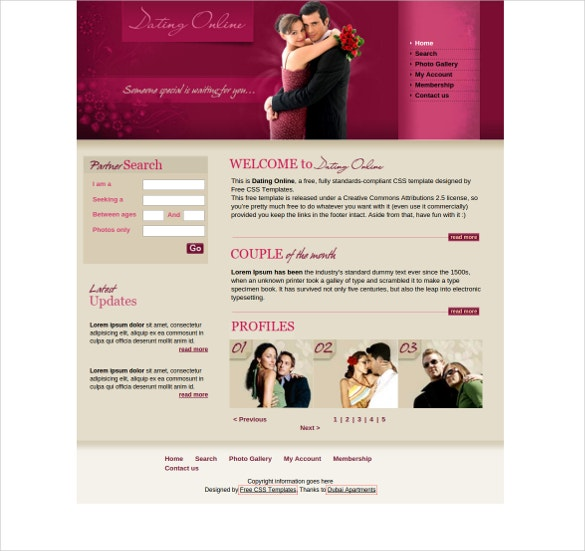 dating online free css website template