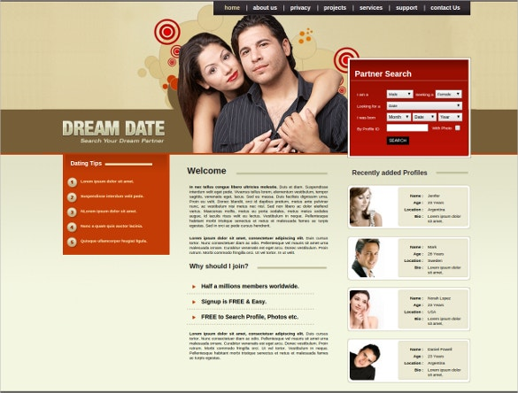 Free dating site website template