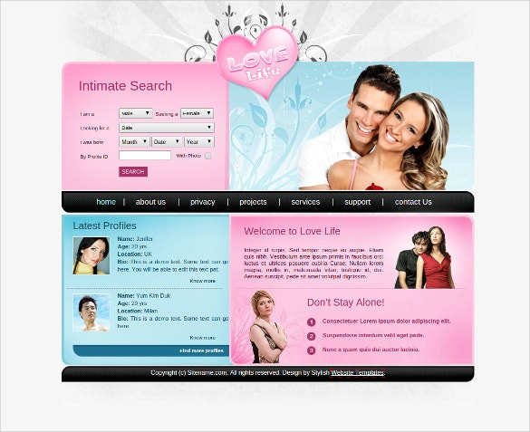 dating love css website template