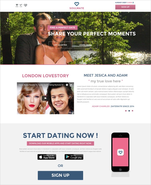 soul mate a dating bootstrap website template